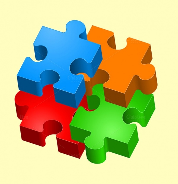 3D Colorful Vector Puzzle