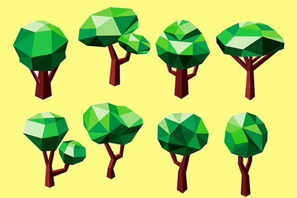 3D Polygonal Tree Icons
