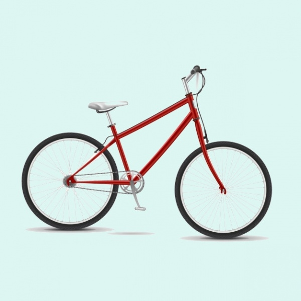 3D Red Bicycle Vector