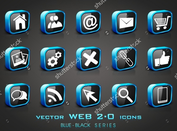 3D Web Mail Server Icons