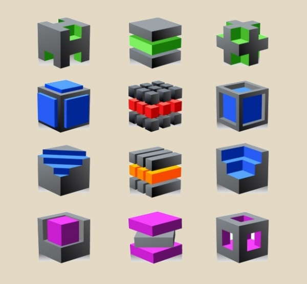 3d Abstract Cube Logotypes Set