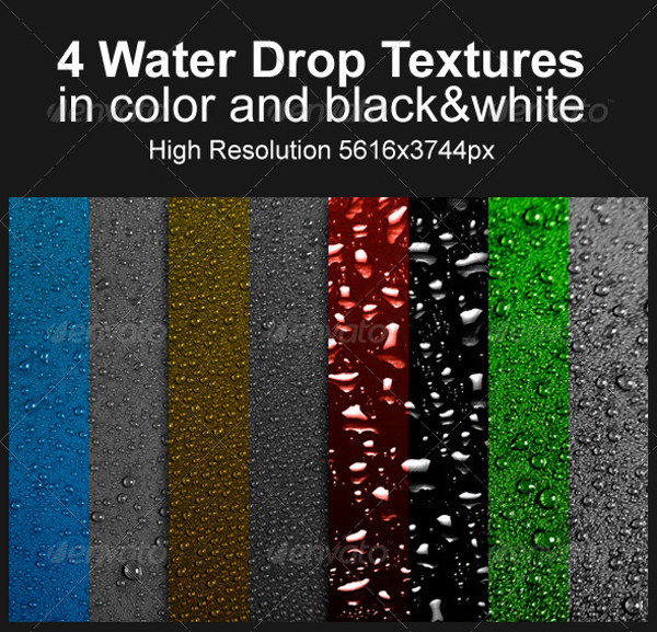 4 High Resolution Water Drops Textures