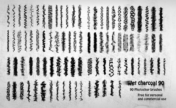 90 Wet Charcoal Photoshop Brushes