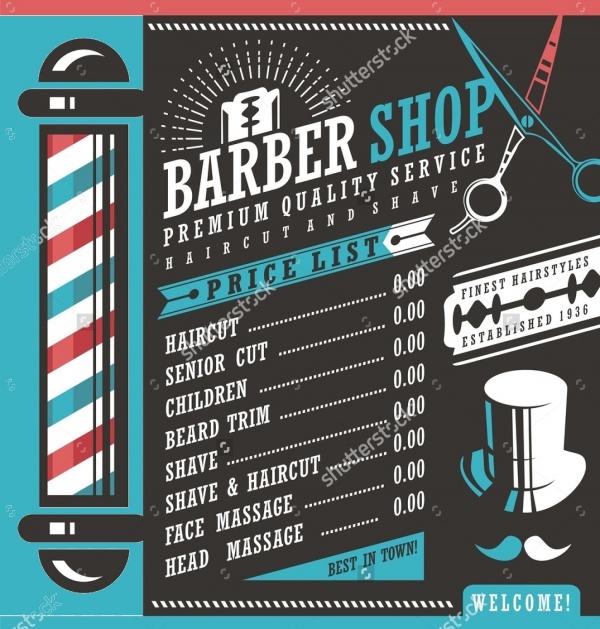 A4 Design Flyer Price of Barber Shop