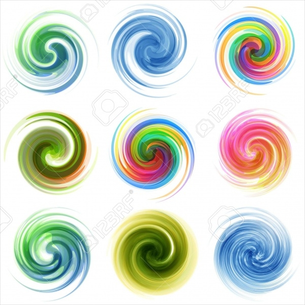 Abstract Colorful Swirl Waves Vector