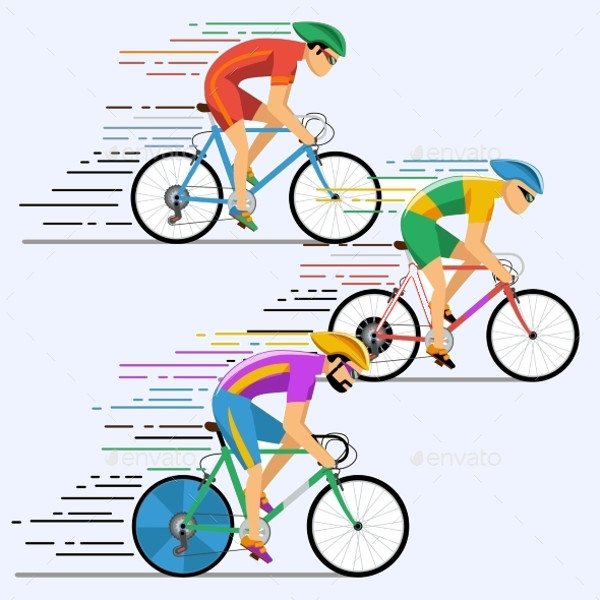 Antique Bicycle Racing Vector