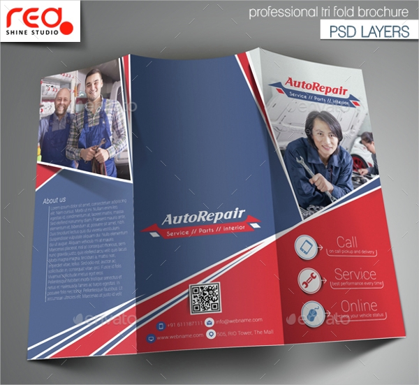 Auto Center Trifold Brochure Template
