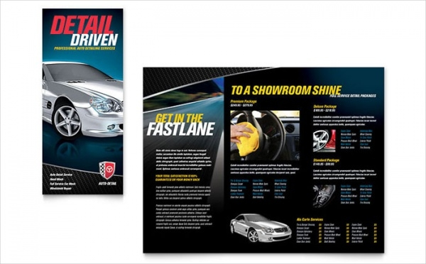 Auto Detailing Tri Fold Automotive Brochure Template