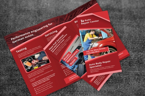 Auto Repair Service Trifold Brochure Design