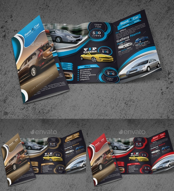 Automotive Rent A Car Trifold Brochure
