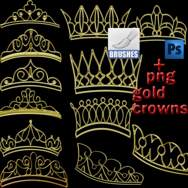 Awesome Gold Crowns Brushes