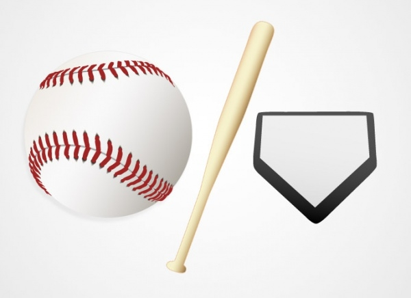 Baseball Ball and Bat Vector Graphics