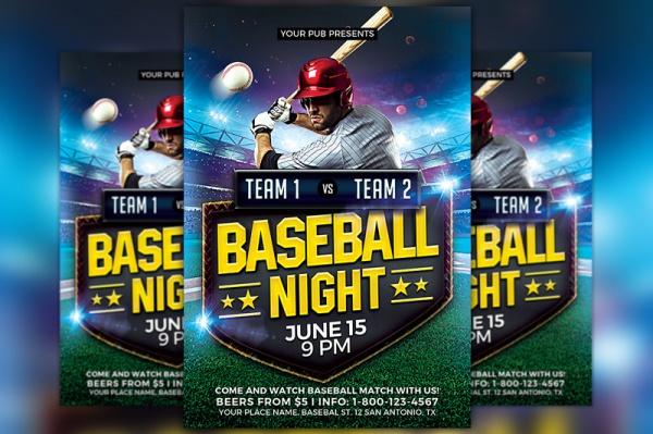 Baseball Night Flyer Design