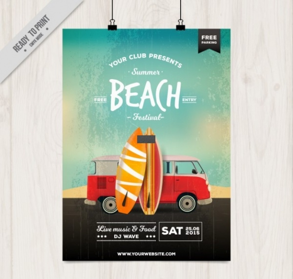 Beach Party Poster With Surfboards