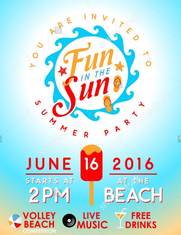 Beach Summer Party Invitation Design