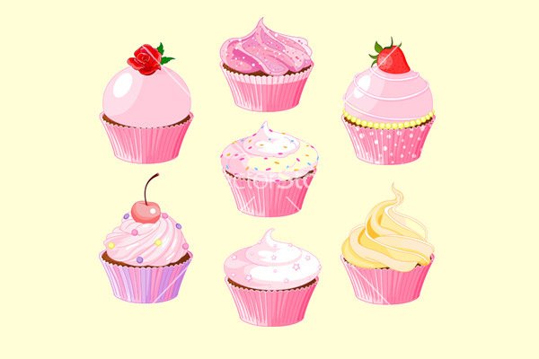 Beautiful Pink Cupcakes Vector