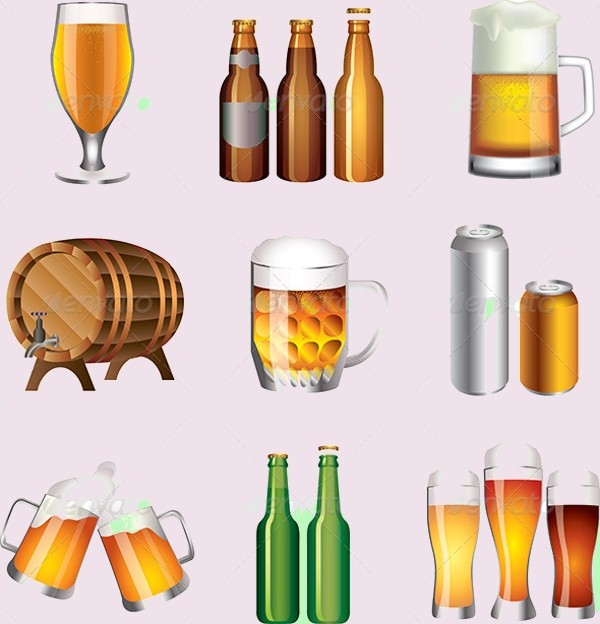 Beer Bottles and Cups Vector Set