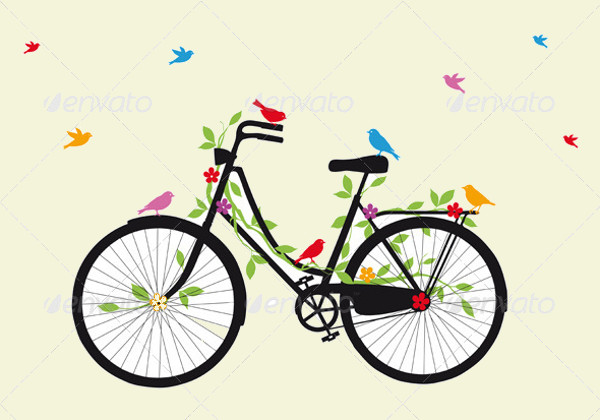 Bicycle With Birds Vector