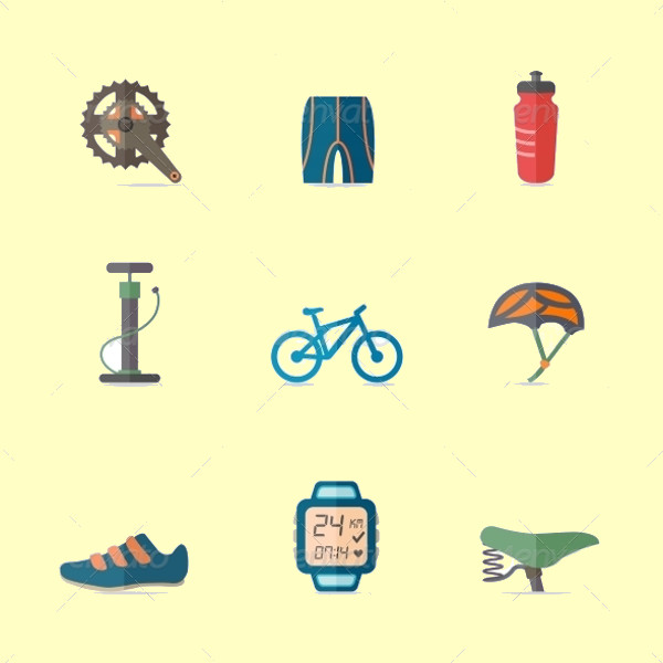 Bike Flat Icon Set