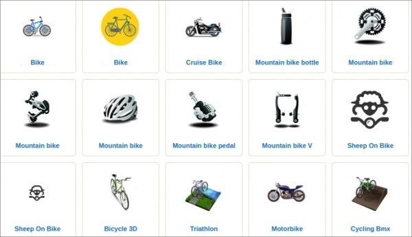 Bike Icons With their Names