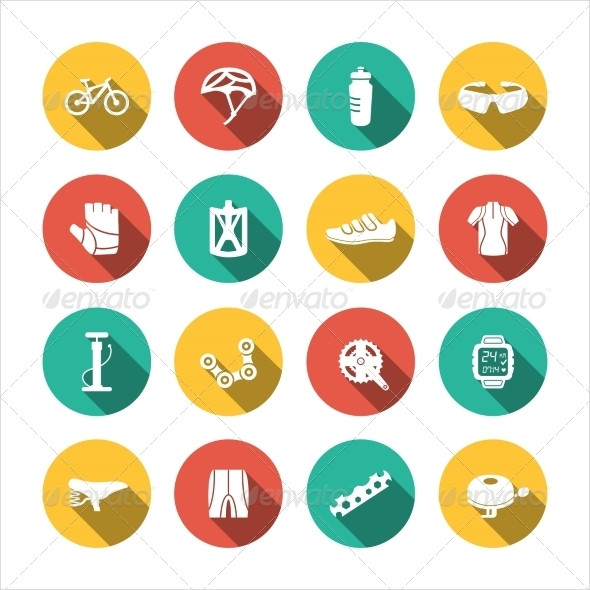Biking Circle Icons Illustration