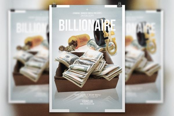 billionaire multipurpose hip hop flyer