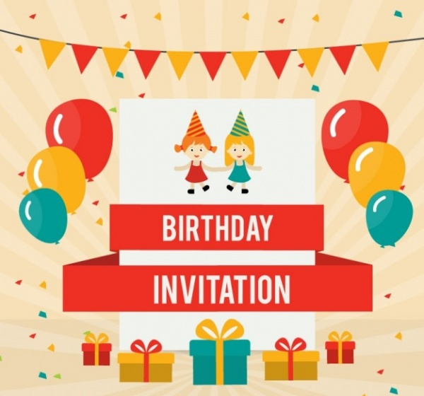 Birthday Card Invitation With Colored Balloons
