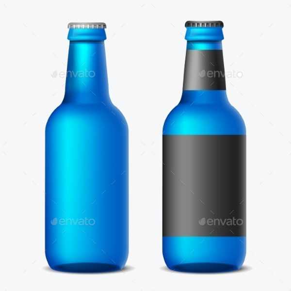 Black And Blue colored Beer Bottle
