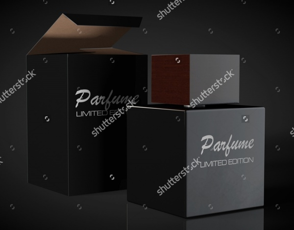 Black Perfume Bottle and Package Box