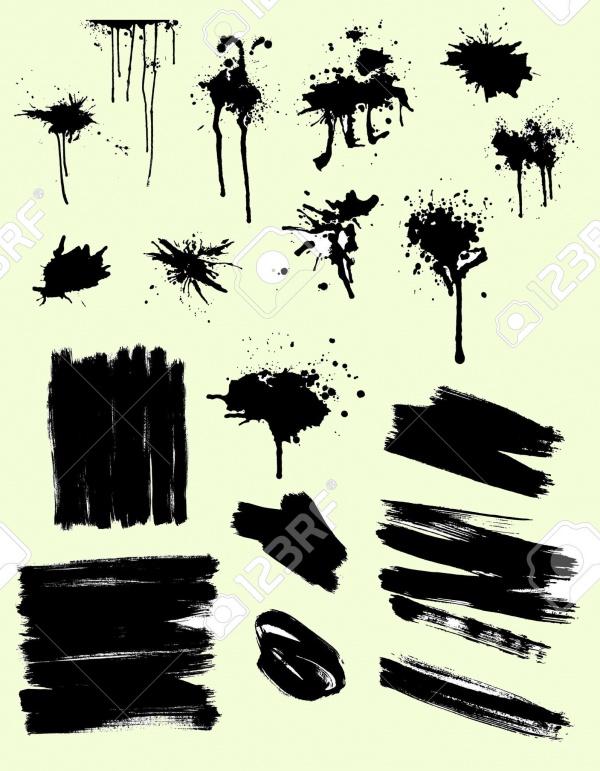 Black Splashes And Brush Strokes