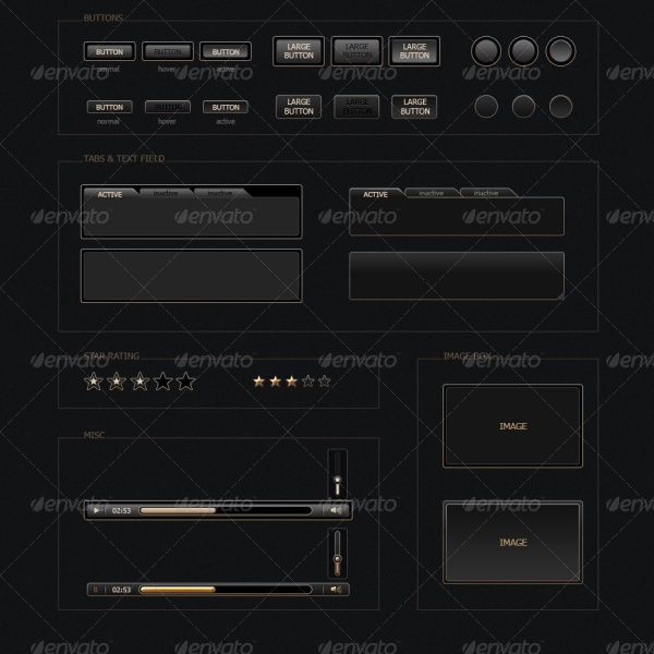 Black and Gold UI Buttons