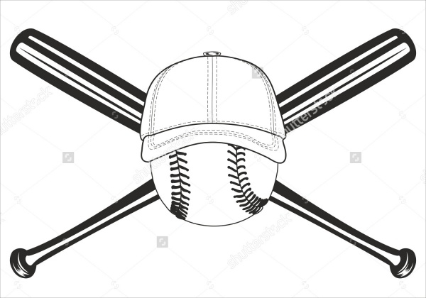 Black and White Baseball Bat Vector