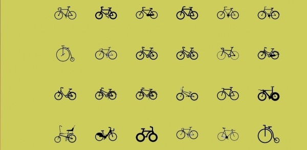 black lined bike icons