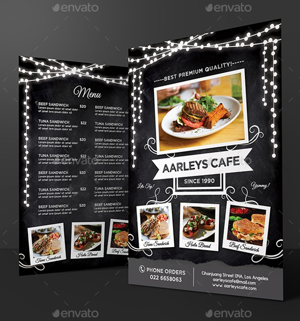 Blackboard Cafe Menu Flyer