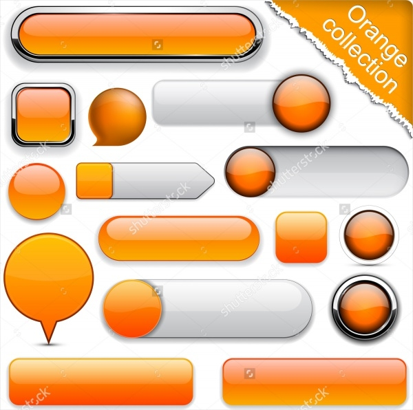 Blank Orange Delicious Web Buttons For Website