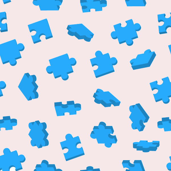 Blue Printable Puzzle Pattern Design