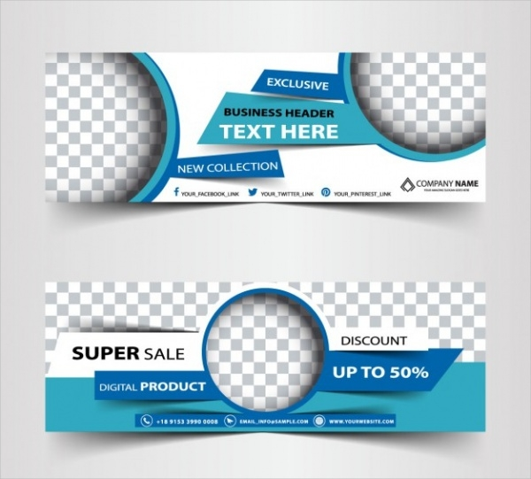 Blue Promotional Banners Free Vector