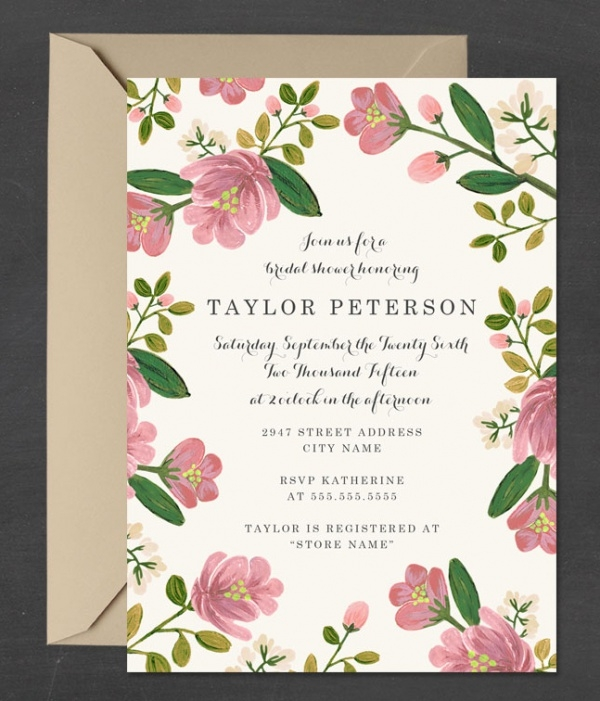 Blush Bouquet Bridal Shower Invitation