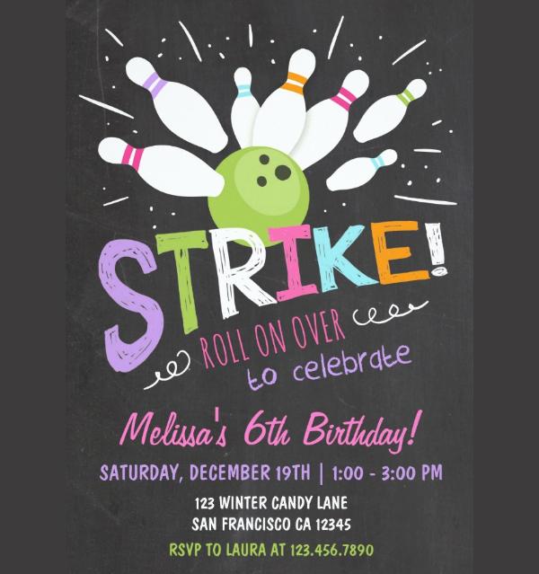 Bowling Birthday Invitation Pink Purple Girl
