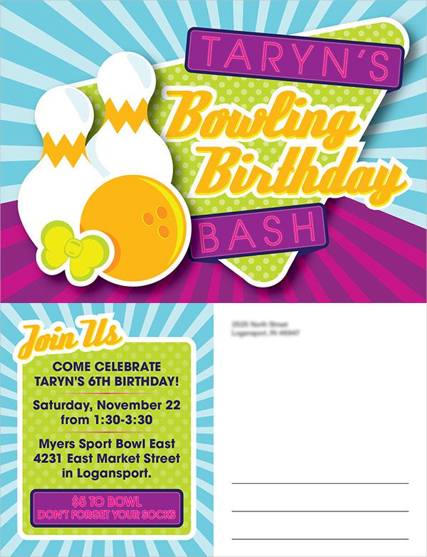 Bowling Birthday Postcard Invitation