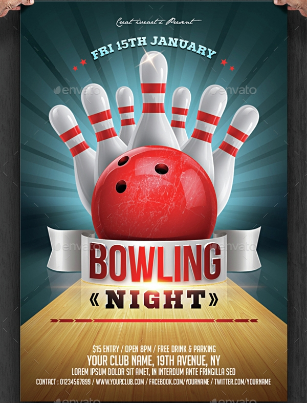 Bowling Night Flyer Design