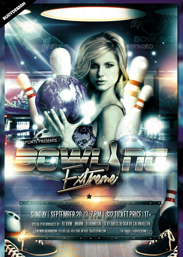 bowling sports flyer design