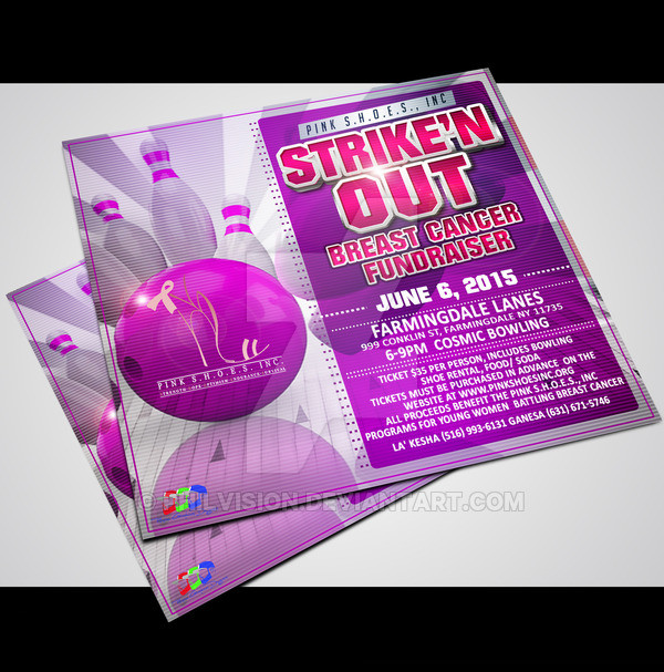 Breast Cancer Bowling Party Flyer
