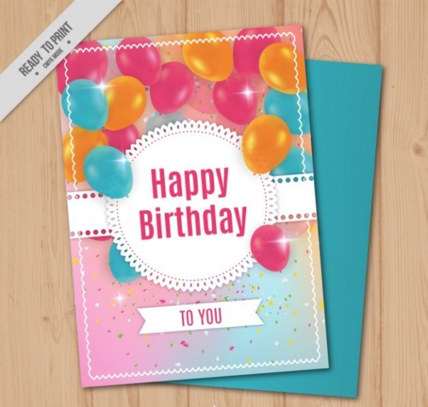 Bright Birthday Card With Realistic Balloons