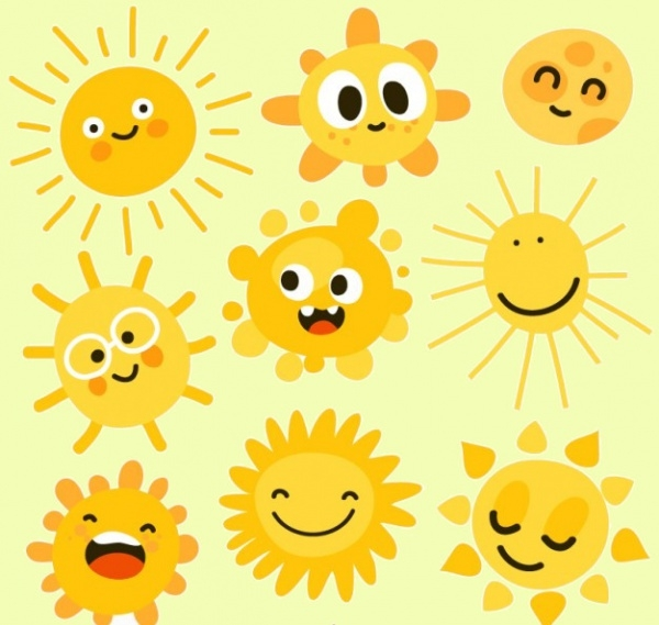 Bright Cartoon Suns Icons