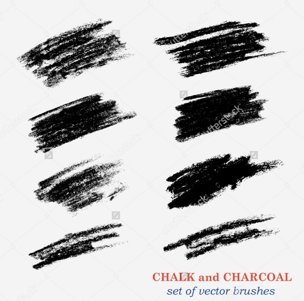 Brushes With Chalk and Charcoal Strokes