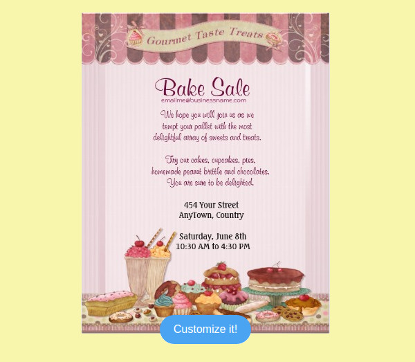 Cakes and Treats Bake Sale Flyer