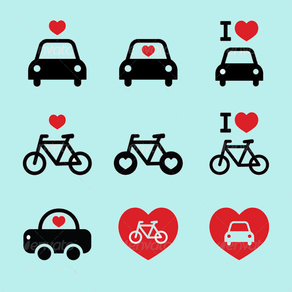 Cars & Bike Icons Set