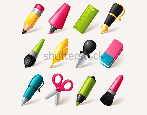 Cartoon Drawing and Writing Tools Icons