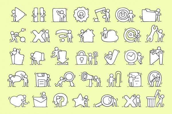 Cartoon Social Media Icons
